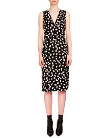 Genevieve Sleeveless Dot-Print Sheath Dress, Black