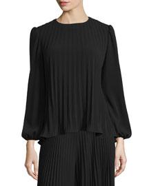 Long-Sleeve Pleat-Front Top, Black