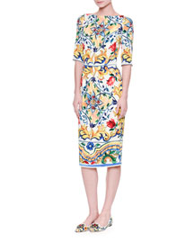 Half-Sleeve Maiolica-Print Sheath Dress