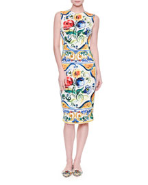 Sleeveless Maiolica Tile-Print Sheath Dress