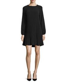 Pleated Long-Sleeve Dress, Black