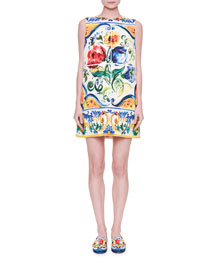 Sleeveless Maiolica Floral-Print Shift Dress