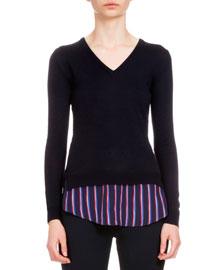Long-Sleeve V-Neck Sweater w/Striped Hem, Navy