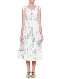 Secret Garden-Print A-Line Dress
