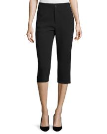 Slim-Fit Capri Pants, Black