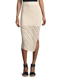 Crocheted Pencil Skirt, Cream