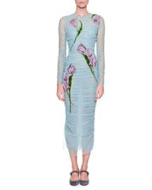 Ruched Tulle Midi Dress w/Floral Embroidery, Aqua