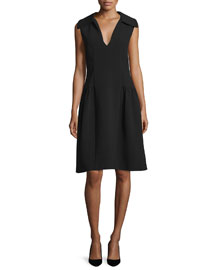 Spread Collar Crepe Dress, Black
