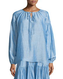 Gathered Long-Sleeve Tie-Neck Top, Light Blue