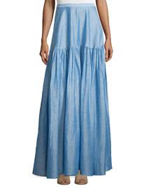 Gathered Maxi Skirt, Light Blue