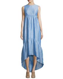 Sleeveless Pleated Chambray Dress, Light Blue