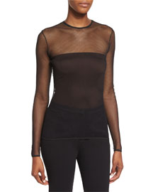 Conico Mesh-Yoke Long-Sleeve Top, Black