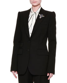 Bee-Embellished Two-Button Jacket, Black (Nero)