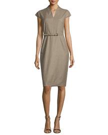 Trine Cap-Sleeve Belted Sheath Dress, Turtle Dove