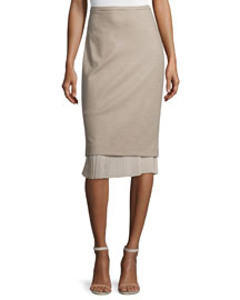 Uvetta Pencil Skirt w/Pleated Underlay, Beige