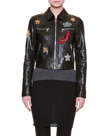 Embellished Leather Fantasy World Jacket