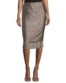 Panfilo Pencil Skirt w/Pleated Hem, Beige