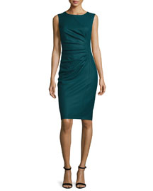 Rey Ruched Sleeveless Dress, Oil