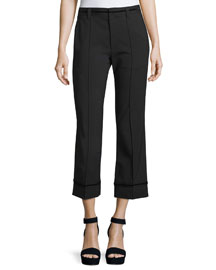 Cropped Stretch-Wool Pants, Black