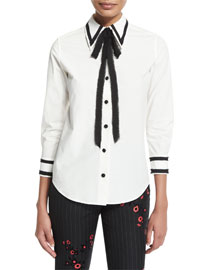 Tipped Stretch-Poplin Tie-Neck Blouse, White