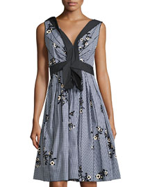 Sleeveless Embroidered Gingham Dress, Blue