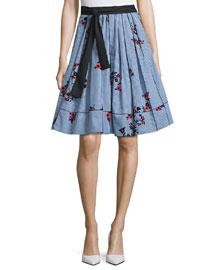 Tie-Waist Floral Gingham Skirt, Blue