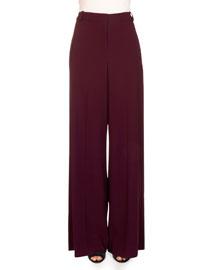 Birte Wide-Leg Pants, Burgundy
