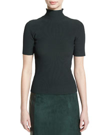 Ribbed Half-Sleeve Turtleneck Sweater, Forest Green