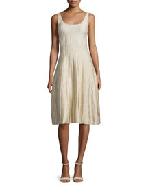 Sleeveless Ribbed Scoop-Neck Dress, Camel