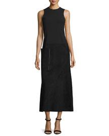 Sleeveless Suede & Wool Midi Dress, Black
