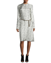 Long-Sleeve Abstract-Print Dress, Beige