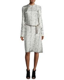 Long-Sleeve Abstract-Print Dress, Beige