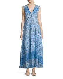Sleeveless Moroccan Cotton Dress, Blue