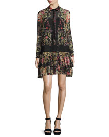 Floral-Print Georgette Shirtdress, Black