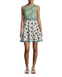 Sleeveless Multi-Print Fit-and-Flare Dress, Green
