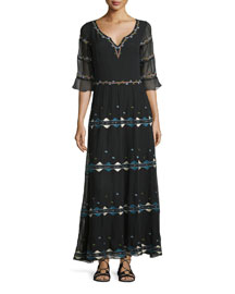 Embroidered Silk Half-Sleeve Maxi Dress, Black