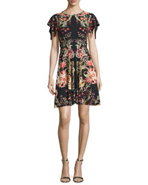 Floral-Print Flutter-Sleeve Dress, Black