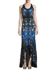 Sleeveless Floral Star-Print Jersey Gown, Blue