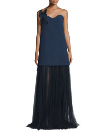 Strapless Sweetheart Gown w/Contrast Tulle Skirt, Insignia Blue