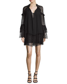 Long-Sleeve Silk Peasant Dress, Black