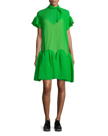 Short-Sleeve Wave-Hem Dress, Meadow Green