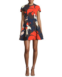 Short-Sleeve Floral-Print Dress w/Detachable Collar