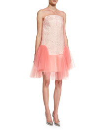 Strapless Jacquard Cocktail Dress w/Removable Tulle Overlay, Light Pink