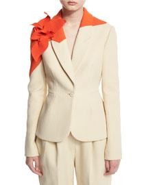 Colorblock Jacket w/Floral Applique, Natural White