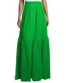 Pleated Tiered Silk Maxi Skirt, Meadow Green
