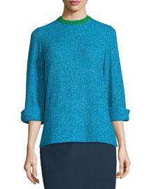 Metallic Long-Sleeve Tunic Top, Turquoise Blue