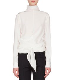 Mock-Neck Wrap-Front Blouse, Ivory