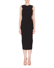 Lace-Trimmed Sleeveless Midi Sheath Dress, Black