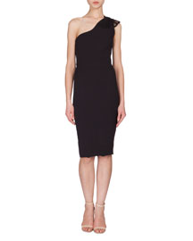 One-Shoulder Crepe Dress w/Lace Applique, Black