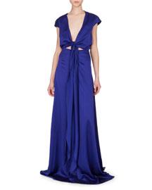 Tie-Front Cap-Sleeve V-Neck Gown, Cobalt